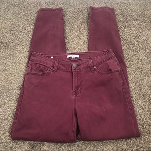 CAbi skinny maroon denim stretch pants style #126